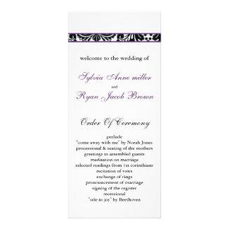 damask border purple Wedding program Rack Card