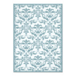 Damask Border with Double Frame (blue) 13 Cm X 18 Cm Invitation Card