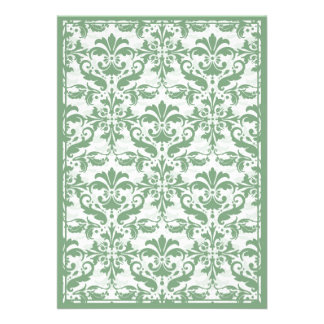 Damask Border with Double Frame Green Custom Invites