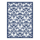 Damask Border with Double Frame (Navy & White) Card
