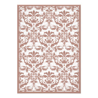 Damask Border with Double Frame Pink Custom Invitations