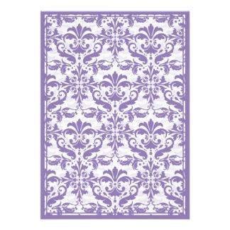Damask Border with Double Frame Purple Invitation