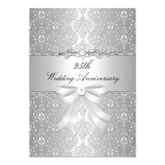 Damask & Bow 25th Wedding Anniversary Invite