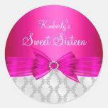 Damask & Bow Pink Sweet Sixteen Sticker