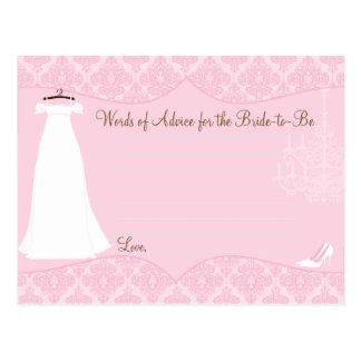 Damask Bridal Shower Advice card for the Bride Postcard