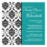 Damask Bridal Shower Invitation Black & Turquoise
