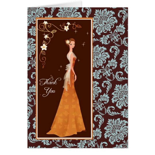 Damask Bridal Shower Thank You Card