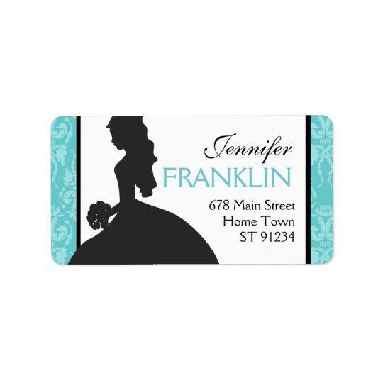Damask Bride Address Label (Teal)