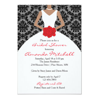 Damask Bride Bridal Shower Invitations │ Dark Skin