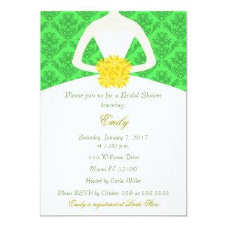 Damask Bride Green Yellow Bridal Shower Invitation