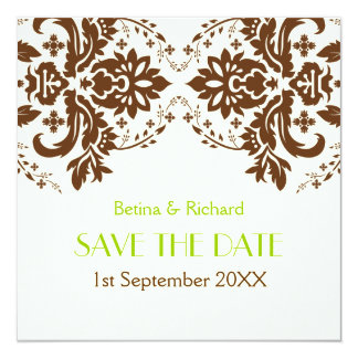 Damask brown, green, ivory wedding Save the Date 13 Cm X 13 Cm Square Invitation Card