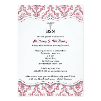 Damask Burgundy Nurse pinning graduation BSN RN 13 Cm X 18 Cm Invitation Card