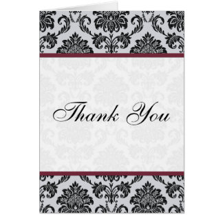 Damask Burgundy Wedding Thank You Cards