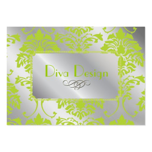 Damask business card in lime green on silver tone