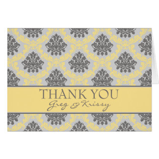 Damask Buttercream Yellow Thank You Note Cards