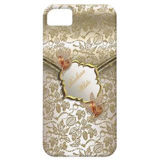 Damask Caramel Cream Beige Gold Amber B iPhone 5 Covers