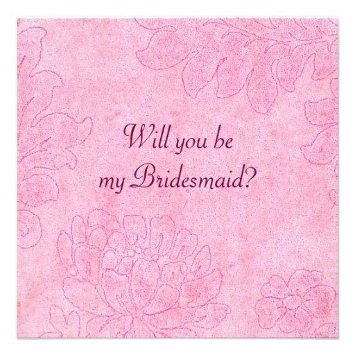 damask - cerise bridesmaid invite