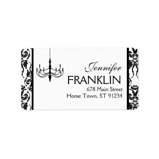 Damask Chandelier Address Label