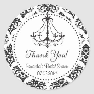Damask Chandelier Bridal Shower Thank You Sticker