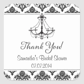 Damask Chandelier Bridal Shower Thank You Stickers