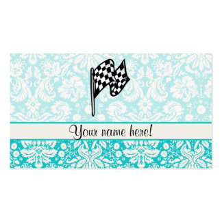 Damask Checkered Flag Business Cards