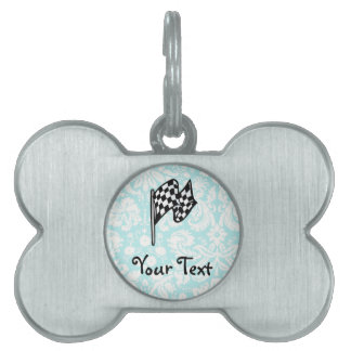 Damask Checkered Flag. Pet ID Tag