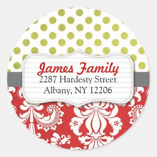 Damask Christmas Circle Address Label