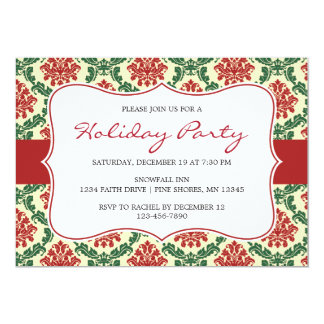 Damask Christmas Holiday Party Invitations