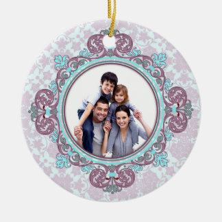 Damask Christmas Personalized Photo Ornament