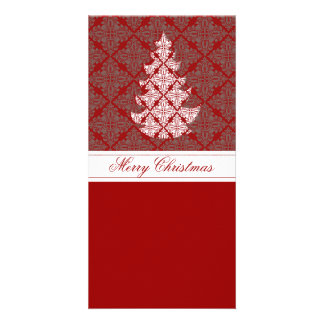 Damask Christmas Tree Photo Card Template