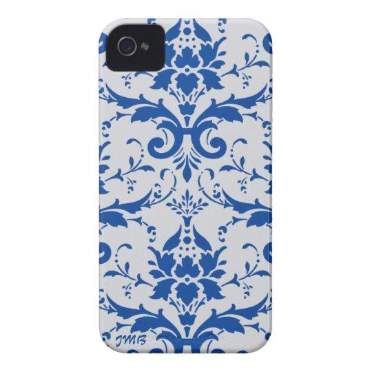 Damask: cobalt blue, light grey , custom initials iPhone 4 cover
