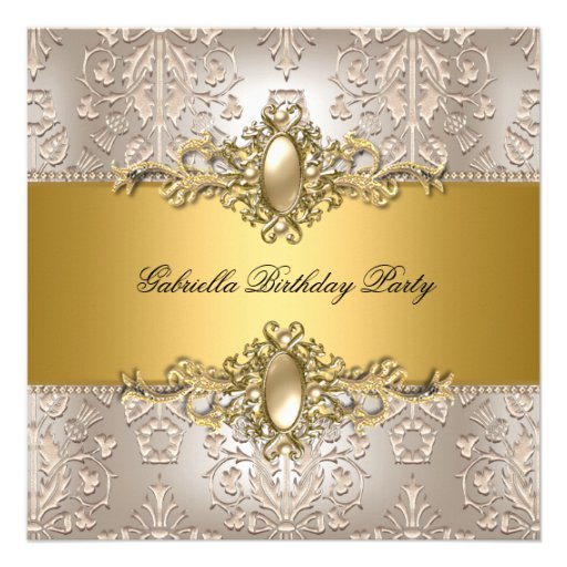 Damask Cream Gold Birthday Party Pearl Announcements