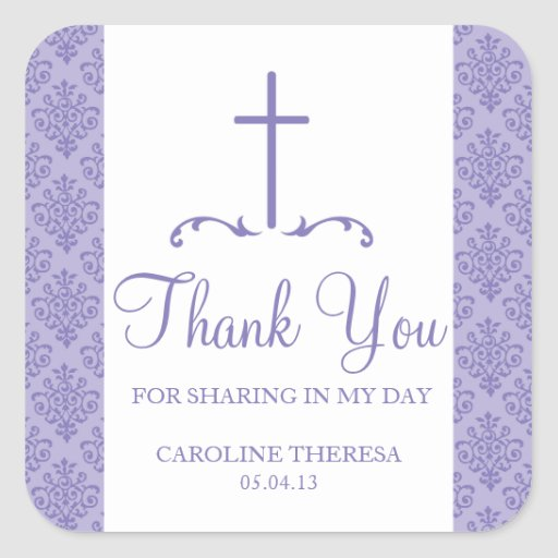 Damask Cross First Communion Stickers