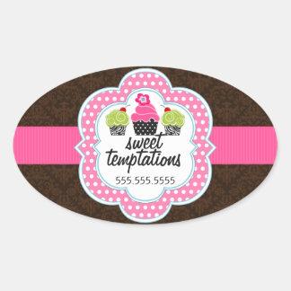 Damask Cupcake Bakery Business Oval Sticker