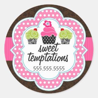 Damask Cupcake Bakery Business Round Sticker