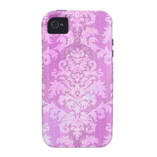 Damask Cut Velvet, Antique Lace in Magenta iPhone 4/4S Cases