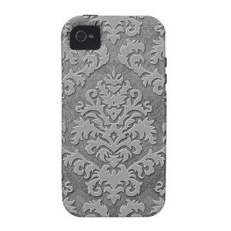 Damask Cut Velvet, Double Damask Monotone in Gray iPhone 4/4S Cover