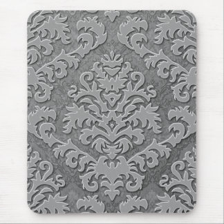 Damask Cut Velvet, Double Damask Monotone Mouse Mat