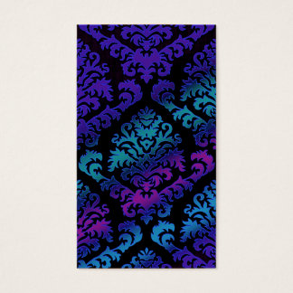 Damask Cut Velvet, Electric in Purple and Teal