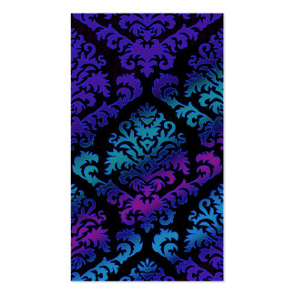 Damask Cut Velvet, Electric in Purple and Teal Pack Of Standard Business Cards