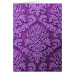 Damask Cut Velvet, Embossed Leaves in Purple Greeting Card