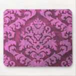 Damask Cut Velvet, Embossed Leaves in Rose Pink Mouse Mat