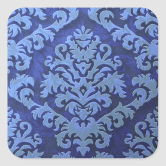 Damask Cut Velvet, Embossed Leaves Square Sticker