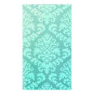 Damask Cut Velvet, Embossed Satin in Mint Green Double-Sided Standard Business Cards (Pack Of 100)