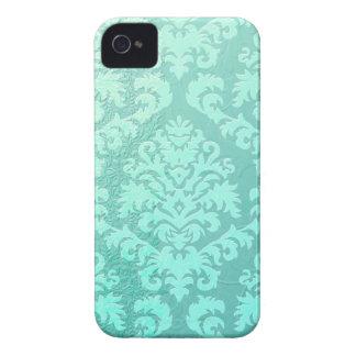 Damask Cut Velvet, Embossed Satin in Mint Green Case-Mate iPhone 4 Case