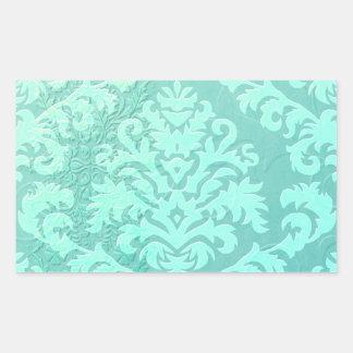 Damask Cut Velvet, Embossed Satin in Mint Green Rectangular Sticker