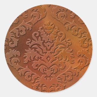 Damask Cut Velvet, Satin Abstract in Orange & Gold Round Sticker