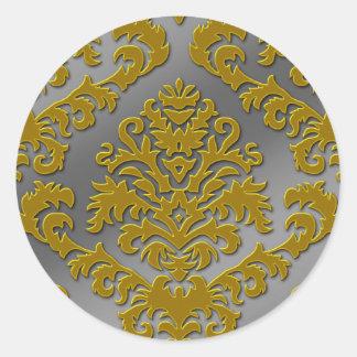 Damask Cut Velvet, Silver Metallic in Gold & Gray Round Sticker