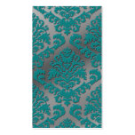 Damask Cut Velvet, Silver Metallic in Teal & Grey Business Card Template