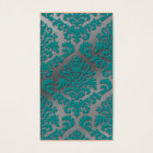 Damask Cut Velvet, Silver Metallic in Teal & Grey Business Card